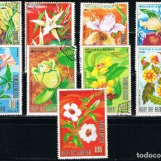 Sellos: GUINEA ECUATORIAL - LOTE DE 9 SELLOS - FLORES (USADO) LOTE 52. Lote 187449113
