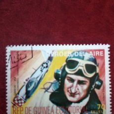 Sellos: SELLO GUINEA ECUATORIAL HÉROES DEL AIRE GABBY GABRESKI WW2. Lote 195028757
