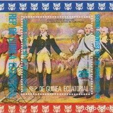 Sellos: GUINEA ECUATORIAL 1975 HB IVERT 67 *** 2º CENTENARIO DE LA INDEPENDENCIA DE ESTADOS UNIDOS. Lote 195490805