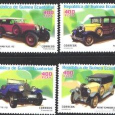 Francobolli: GUINEA ECUATORIAL, 2003 EDIFIL Nº 310 / 313, AUTOMÓVILES, BUGATTI, ROCHET SCHNEIDER, ALFA ROMEO,. Lote 197682913
