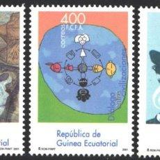 Francobolli: GUINEA ECUATORIAL, 2003 EDIFIL Nº 315 / 317, EFEMÉRIDES, MÚSICO, PINTURAS, . Lote 197683682