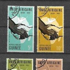 Sellos: REPÚBLICA DE GUINEA,CONFERENCIA DE LA UNIDAD AFRICANA,1963,YVERT 160-163, USADO. Lote 203873788