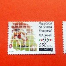 Sellos: GUINEA ECUATORIAL - 1990 - /**/ - FÚTBOL - CAMPEONATO ITALIA 90 + REGALO FOLL. INFORMATIVO. Lote 227878375