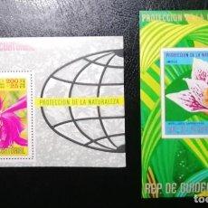 Sellos: GUINEA ECUATORIAL 1974 FLORES DE AMERICA MICHEL BL129 + BL131 NUEVOS SIN CHARNELA MNH. Lote 228331690