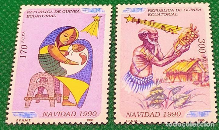 2 SELLOS GUINEA ECUATORIAL 1990 NAVIDAD SERIE COMPLETA 2 VALORES 131/132 (Sellos - Extranjero - África - Guinea Ecuatorial)