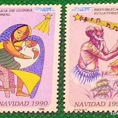 Sellos: 2 SELLOS GUINEA ECUATORIAL 1990 NAVIDAD SERIE COMPLETA 2 VALORES 131/132. Lote 235825540