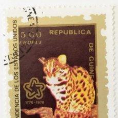 Sellos: SELLO DE GUINEA ECUATORIAL 5 E - BICENTENARIO EEUU LEOPARDO - USADO SIN SEÑAL DE FIJASELLOS. Lote 236122635