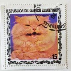 Sellos: SELLO DE GUINEA ECUATORIAL 15 E - 1978 - GATOS - USADO SIN SEÑAL DE FIJASELLOS. Lote 242053195