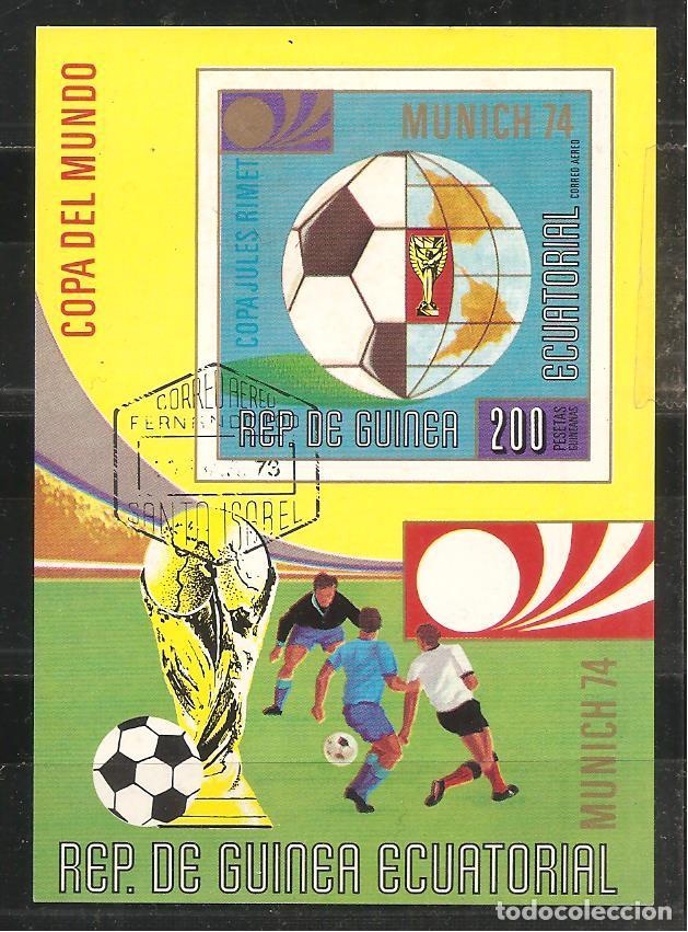 GUINEA ECUATORIAL, HB MUNICH 74, COPA DEL MUNDO DE FÚTBOL, MATASELLADO (Sellos - Extranjero - África - Guinea Ecuatorial)