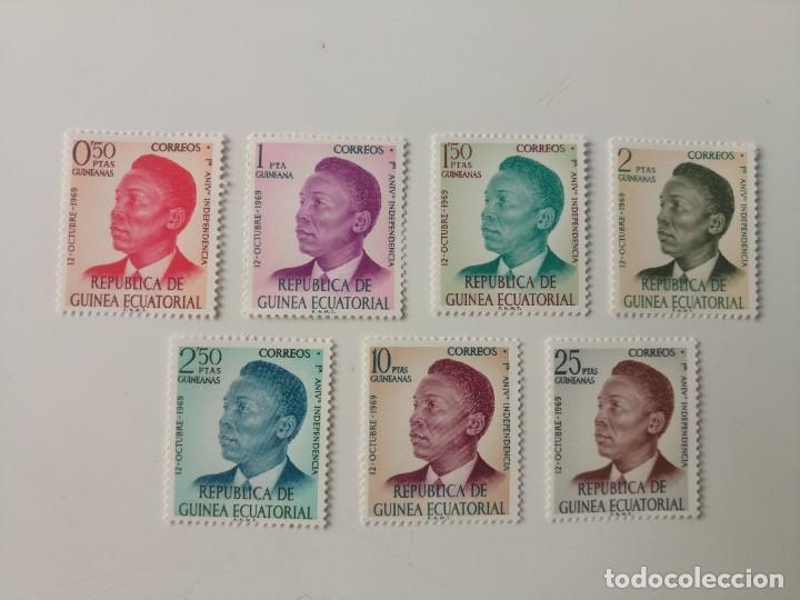 PRIMER ANIVERSARIO DE LA INDEPENDENCIA DEL AÑO 1969 EDIFIL 4/10 EN NUEVO ** (Sellos - Extranjero - África - Guinea Ecuatorial)