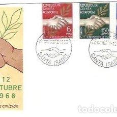 Sellos: SOBRE PRIMER DIA SFC FP 24 REPUBLICA DE GUINEA ECUATORIAL 12 OCTUBRE 1968. Lote 253787810