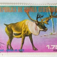Sellos: SELLO DE GUINEA ECUATORIAL 1,75 E - 1977 - ANIMALES NORTEAMERICA - USADO SIN SEÑAL DE FIJASELLOS. Lote 254153135