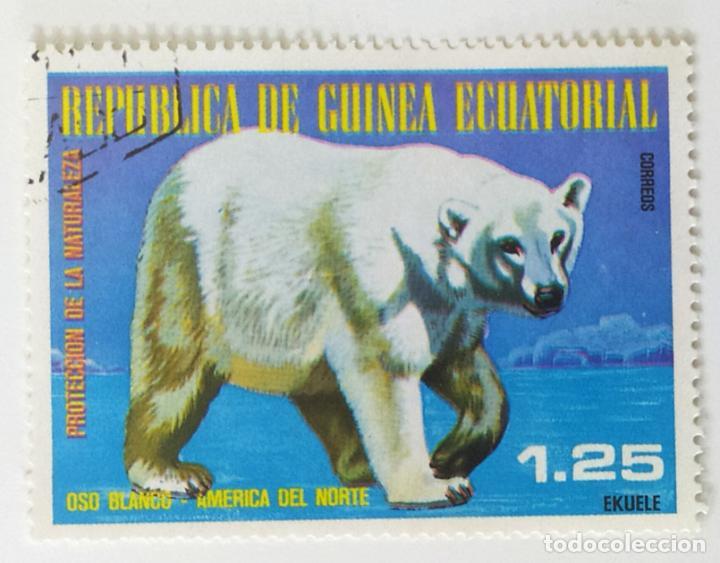 SELLO DE GUINEA ECUATORIAL 1,25 E - 1977 - ANIMALES NORTEAMERICA - USADO SIN SEÑAL DE FIJASELLOS (Sellos - Extranjero - África - Guinea Ecuatorial)