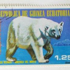 Sellos: SELLO DE GUINEA ECUATORIAL 1,25 E - 1977 - ANIMALES NORTEAMERICA - USADO SIN SEÑAL DE FIJASELLOS. Lote 254153230