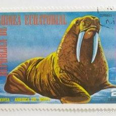 Sellos: SELLO DE GUINEA ECUATORIAL 2 E - 1977 - ANIMALES NORTEAMERICA - USADO SIN SEÑAL DE FIJASELLOS. Lote 254153350