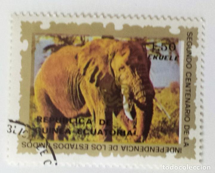 SELLO DE GUINEA ECUATORIAL 1,50 E - 1976 - ELEFANTE - USADO SIN SEÑAL DE FIJASELLOS (Sellos - Extranjero - África - Guinea Ecuatorial)