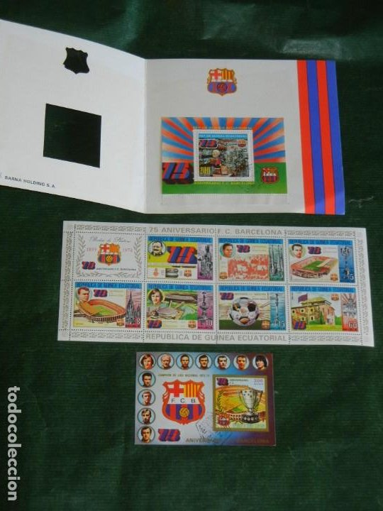 Sellos: SELLOS DEL 75 ANIVERSARIO FC BARCELONA. DE GUINEA ECUATORIAL . BARÇA 1974 - Foto 2 - 262085400