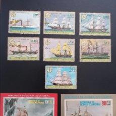 Sellos: GUINEA ECUATORIAL 1976 CONQUISTA DE LOS MARES BARCOS MICHEL 998/1004 + BL248/BL249 YVERT 94 + PA78. Lote 265830534