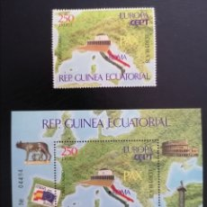 Sellos: GUINEA ECUATORIAL 1978 - EURPHILA 78 EUROPA CEPT - MICHEL 1351 + BL 303. Lote 266345293