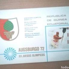 Sellos: GUINEA ECUATORIAL 1972 MICHEL F65 OLIMPIADA MÚNICH 72 SELLO DE ORO CARPETA DE PRESENTACIÓN ORIGINAL. Lote 269439248