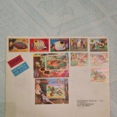 Sellos: SOBRE CON SELLOS, SELLOS Y HOJA FILATELICA DE GUINEA ECUATORIAL A HOLANDA 1975-MACIAS. Lote 271092083