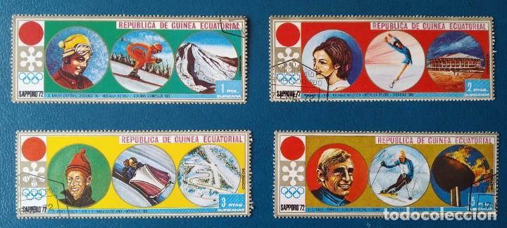 LOTE 4 SELLOS GUINEA ECUATORIAL SAPPORO 72 (USADOS) (Sellos - Extranjero - África - Guinea Ecuatorial)