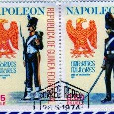 Timbres: ÁFRICA. GUINEA ECUATORIAL. UNIFORMES MILITARES DE NAPOLEÓN. USADOS CON CHARNELA. Lote 275453508