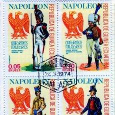 Timbres: ÁFRICA. GUINEA ECUATORIAL. UNIFORMES MILITARES DE NAPOLEÓN. USADOS CON CHARNELA. Lote 275453858