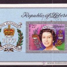 Sellos: LIBERIA HB 86 - AÑO 1977 - 25º ANIVERSARIO DE LA ASCENSIÓN AL TRONO DE LA REINA ISABEL II. Lote 16189499