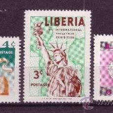 Sellos: LIBERIA 333/35*** - AÑO 1956 - 5ª EXPOSICIÓN FILATÉLICA INTERNACIONAL DE NUEVA YORK. Lote 16948188
