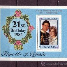 Sellos: LIBERIA HB 102*** - AÑO 1982 - NACIMIENTO DEL PRINCIPE WILLIAM. Lote 22502623