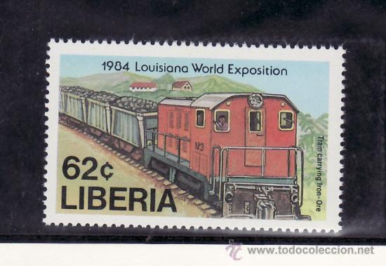 LIBERIA 1000 SIN CHARNELA, FF.CC., FERROCARRIL TRANSPORTANDO MINERAL, (Sellos - Extranjero - África - Liberia)