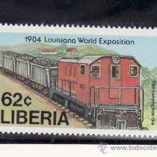 Sellos: LIBERIA 1000 SIN CHARNELA, FF.CC., FERROCARRIL TRANSPORTANDO MINERAL,. Lote 253151925