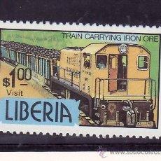 Sellos: LIBERIA 961 SIN CHARNELA, FF.CC., FERROCARRIL TRANSPORTANDO MINERAL DE HIERRO. Lote 24882514