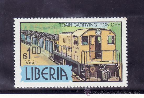 LIBERIA 881 SIN CHARNELA, FF.CC., FERROCARRIL TRANSPORTANDO MINERAL DE HIERRO, (Sellos - Extranjero - África - Liberia)
