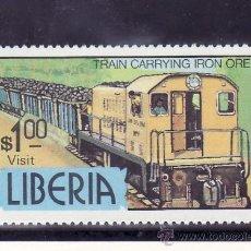 Timbres: LIBERIA 881 SIN CHARNELA, FF.CC., FERROCARRIL TRANSPORTANDO MINERAL DE HIERRO, . Lote 24882837