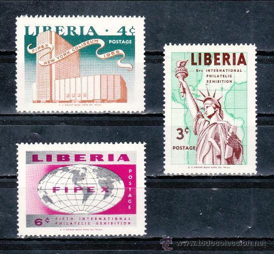 LIBERIA 333/5 SIN CHARNELA, 5º EXPOSICION FILATELICA INTERNACIONAL DE NUEVA YORK (Sellos - Extranjero - África - Liberia)