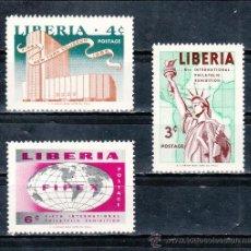 Sellos: LIBERIA 333/5 SIN CHARNELA, 5º EXPOSICION FILATELICA INTERNACIONAL DE NUEVA YORK. Lote 204623835