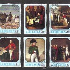 Sellos: LIBERIA - LOTE DE 6 SELLOS - SERIE HISTÓRICA 1970 - CON MATASELLOS DE FAVOR.. Lote 29105110