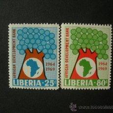 Sellos: LIBERIA 1969 IVERT 473/4 *** BANCO AFRICANO PARA EL DESARROLLO. Lote 34030345