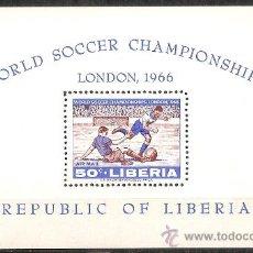 Sellos: LIBERIA - WORLD CUP FOOTBALL S/S MICHEL B/38, YVERT B/37 - 1966. Lote 37639780