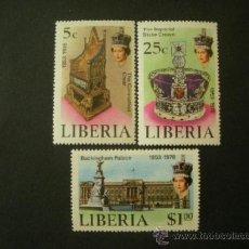 Sellos: LIBERIA 1978 IVERT 772/4 *** 25º ANIVERSARIO CORONACIÓN DE LA REINA ELISABETH II. Lote 38398980