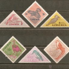 Sellos: LIBERIA AVES YVERT NUM. 318/23 ** SERIE COMPLETA SIN FIJASELLOS. Lote 43291077