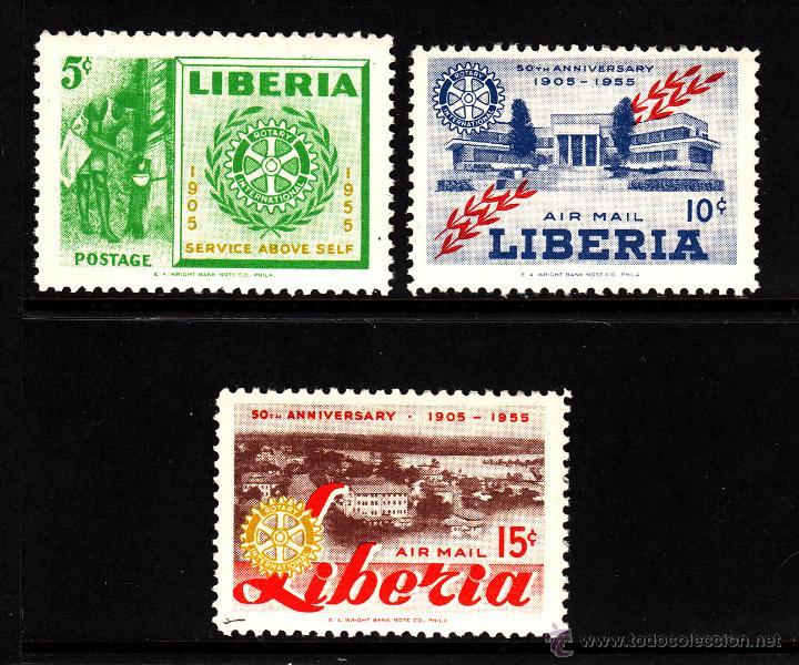 LIBERIA 332 Y AEREO 95/96** - AÑO 1955 - 50º ANIVERSARIO DE ROTARY INTERNACIONAL (Sellos - Extranjero - África - Liberia)
