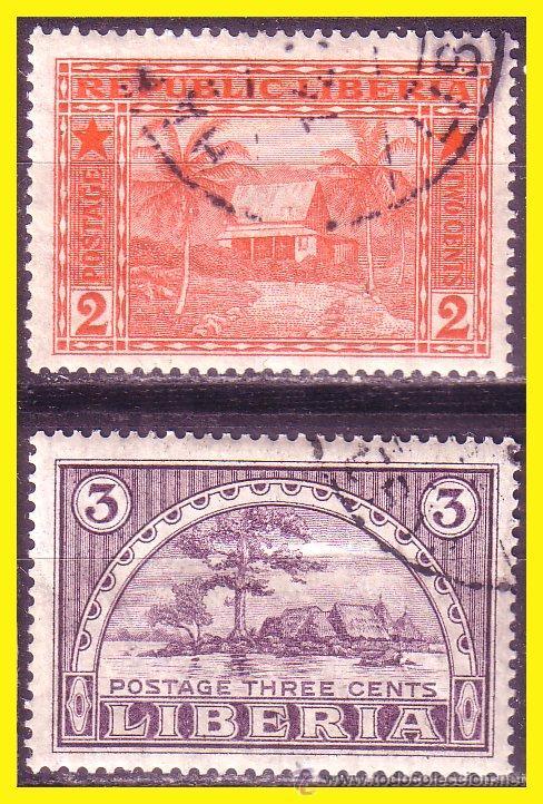 LIBERIA 1915 IVERT Nº 114 Y 115 (O) (Sellos - Extranjero - África - Liberia)