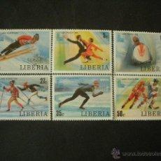 Sellos: LIBERIA 1980 IVERT 868/73 *** JUEGOS OLIMPICOS DE INVIERNO EN LAKE PLACID - DEPORTES. Lote 53147195