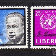 Sellos: LIBERIA 379 Y AEREO 129** - AÑO 1963 - EN MEMORIA DE DAG HAMMARSKJOLD. Lote 54335335