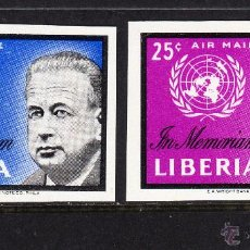 Sellos: LIBERIA 379 Y AEREO 129** SIN DENTAR - AÑO 1963 - EN MEMORIA DE DAG HAMMARSKJOLD. Lote 54335343