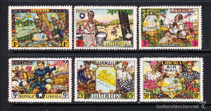 LIBERIA 287/90 Y AEREO 59/60** - AÑO 1949 - HISTORIA DE LIBERIA - AMOR A LA LIBERTAD (Sellos - Extranjero - África - Liberia)