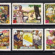 Sellos: LIBERIA 287/90 Y AEREO 59/60** - AÑO 1949 - HISTORIA DE LIBERIA - AMOR A LA LIBERTAD. Lote 57961896